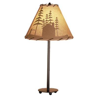 """Meyda Tiffany Rustic Lodge Painted 23.5"""" H Table Lamp with Empire Shade"""