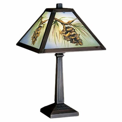 """Meyda Tiffany Rustic Lodge 16"""" H Table Lamp with Square Shade"""