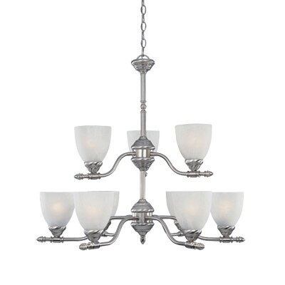 Apollo Nine Light Chandelier in Satin Platinum by Designers Fountain