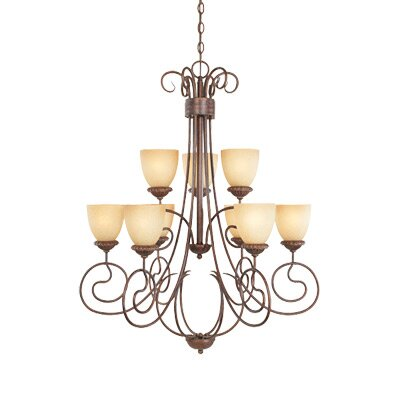 Belaire Nine Light Chandelier in Aged Umber Bronze by Designers Fountain
