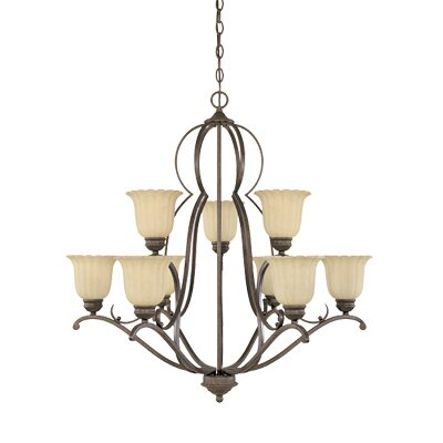 Radford Nine Light Chandelier in Forged Sienna by Designers Fountain