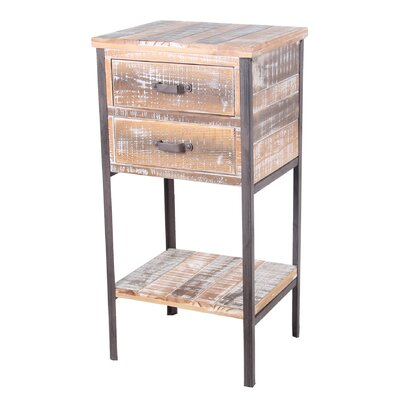 2 Drawer Iron and Wood End Table by Privilege