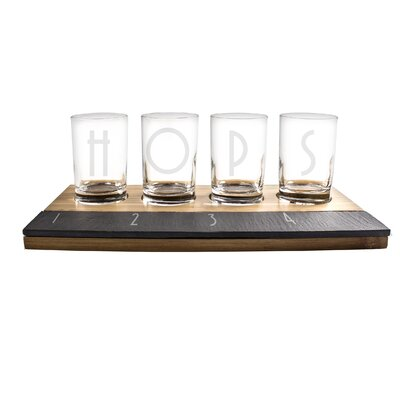 Personalized Bamboo and Slate Beer Tasting Flight Set by Cathys Concepts