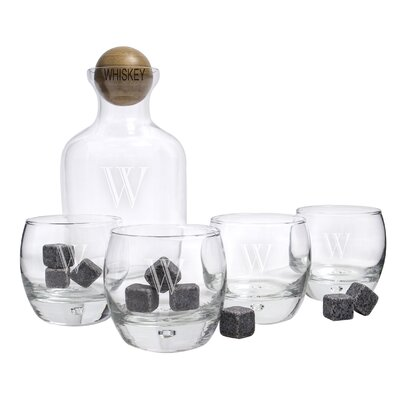 5 Piece Personalized Whiskey Decanter Set by Cathys Concepts