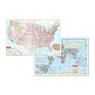 Us & World Physical Map Set 50x32 by Universal Map