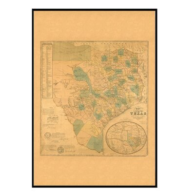 Universal Map Texas 1853 Historical Print Mounted Framed Wall Map