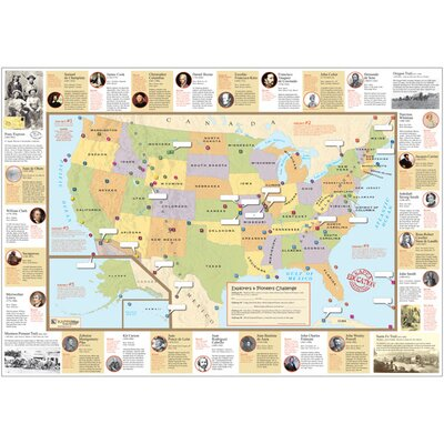 U.S. Explorer and Pioneer Challenge Rolled Map by Universal Map