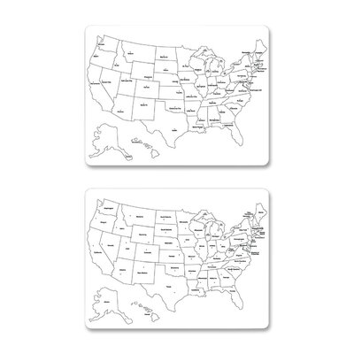 Chenille Kraft Company USA Map Wall Mounted Whiteboard, 2' x 2'