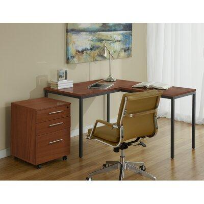 Jesper Office Parson Writing Desk with File Cabinet