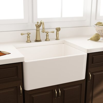 """24"""" x 18"""" Fireclay Farmhouse Kitchen Sink with Grid and Drain Product Photo"""