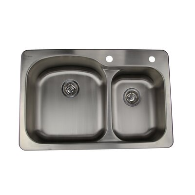 Self Rimming Offset Double Bowl Kitchen Sink in Brushed Satin by Nantucket Sinks