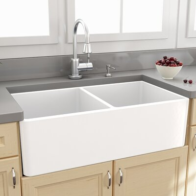 "Nantucket Sinks Farmhouse 33"" x 18"" Double Bowl Kitchen Sink with Grids"