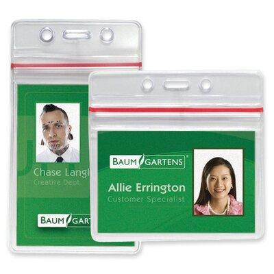 "Baumgartens Sealable Card Holders Horizontal 2-5/8""x3-3/4"",50/PK,Clear"