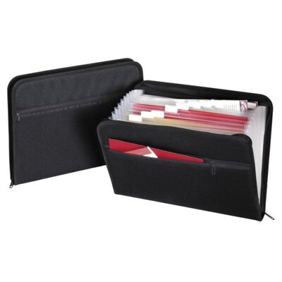 """Globe Weis Zip File, Fabric, 13 Pockets, 14""""x10"""", A-Z, Monthly, Black"""