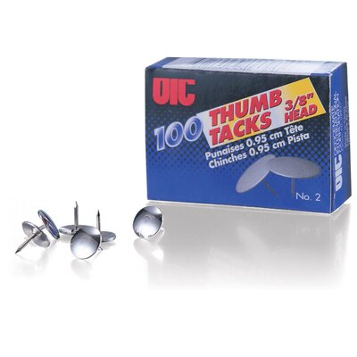 """Officemate International Corp Thumb Tacks, 1/2"""" Point, 100/BX, Steel"""