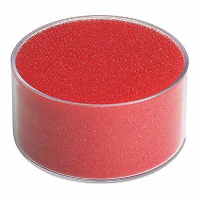 Officemate International Corp Sponge Cup Envelope Moistener, 3-inch Diameter, Clear/Red