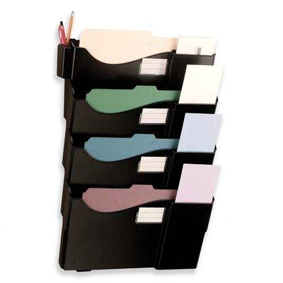 "Officemate International Corp Starter Filing System,w/4-Pockets,16-5/8""x4-3/4""x23-1/2"",BK"
