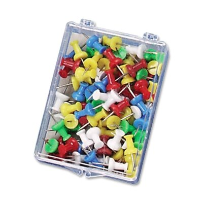 """Officemate International Corp Push Pins, Plastic, Assorted Colors, Head 1/2"""" L"""