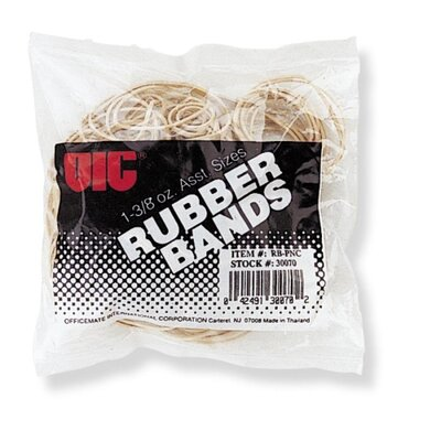 Officemate International Corp Rubber Bands, 1-3/8 oz., Assorted Sizes, Natural