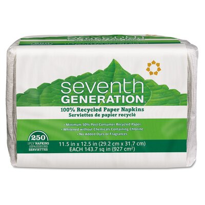 Seventh Generation Single-Ply Luncheon Napkins, White, 250 per Pack