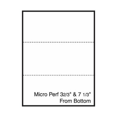 """TST Impreso 8.5"""" x 11"""" Blank Pre-Perfed and Punched Copy Paper with Perf 3.67"""" and 7.33"""" from Bottom (2500 Sheets)"""