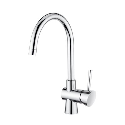 WS Bath Collections Slim Single Handle One Hole Kitchen Faucet with High Swivel Spout