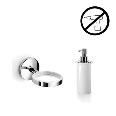 Noanta Self-Adhesive Single Holder with Soap Dispenser by WS Bath Collections