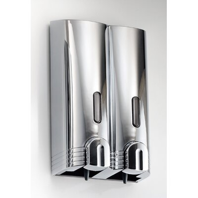 "WS Bath Collections Otel 5.3"" x 9.7"" Wall Mount Double Soap Dispenser in Chrome"