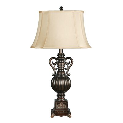 """Crestview Collection Moira 1 Light 34"""" H Table Lamp with Bell Shade"""