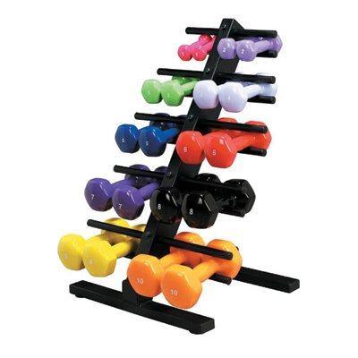Vinyl Coated Dumbbell with Floor Rack by Cando