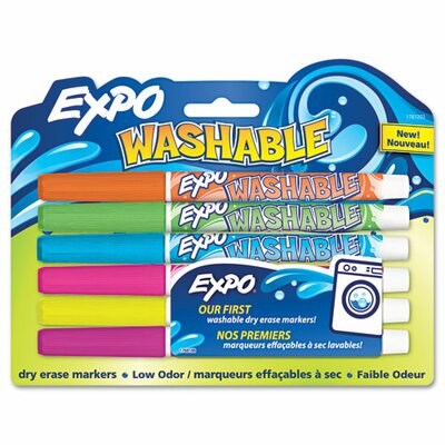 EXPO® Washable Dry Erase Marker, Fine Point, Assorted, 6 per Pack