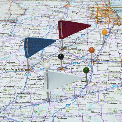 """Gem Office Products, LLC. Plastic Head Triangular Map Flags, Steel 1"""" Point, Assorted Colors, 75 per Box"""
