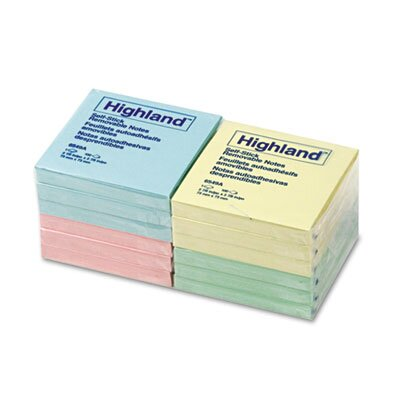 Highland™ Sticky Note Pads, 3 x 3, Assorted Pastel, 100 Sheets