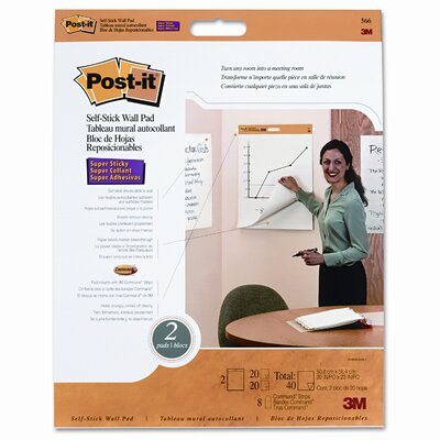"Post-it® Self-Stick Wall Easel Pad, 20"" x 23"", 20-Sheets"