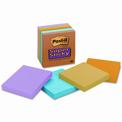 Post-it® Super Sticky Notes, 3 x 3, Assorted Neon/Electric, 5 90-Sheet Pads/pack