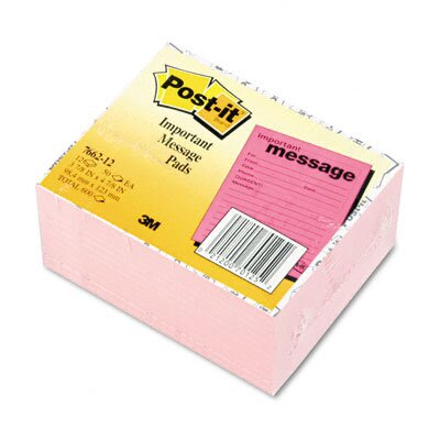 Post-it® Super Sticky Message Pad, 3-7/8 x 4-7/8, Pink, 12 50-Sheets Pads/Pack