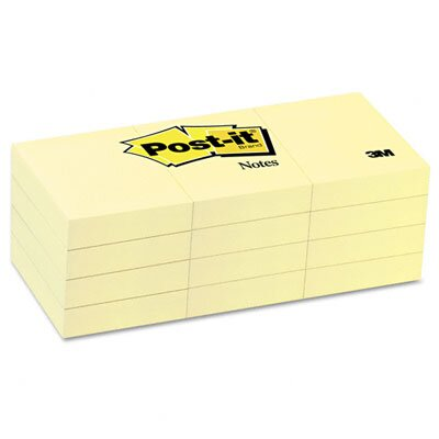 Post-it® Original Notes, 1-1/2 x 2, Canary Yellow, 12 100-Sheet Pads/pack