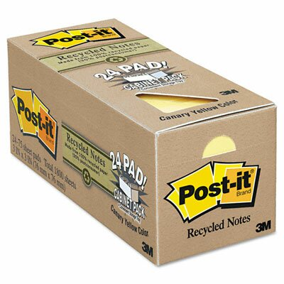 Post-it® Recycled Notes, 3 x 3, Canary Yellow, 24 75-Sheet Pads/Pack