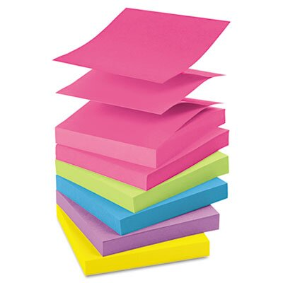 Post-it® Pop-Up Note Refills, 3 x 3, Five Ultra Colors, 12 100-Sheet Pads/pack