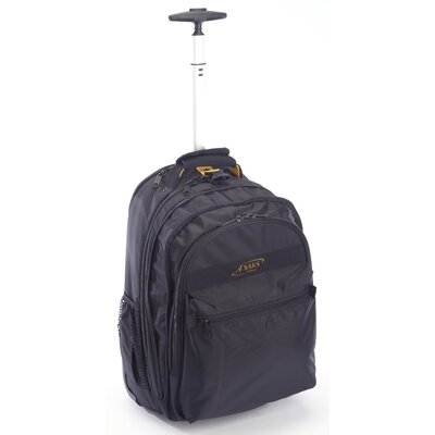 Expandable Rolling Trolley Laptop Backpack by A.Saks