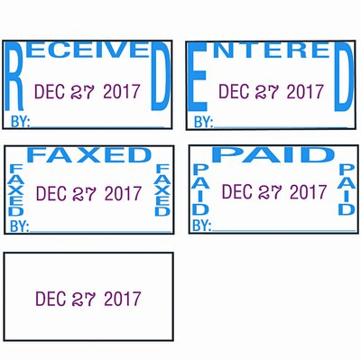 Trodat® trodat Economy 5-in-1 Stamp, Dater, Self-Inking, Blue/Red