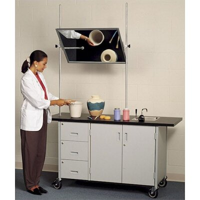 Fleetwood Mobile Arts and Crafts Demonstration Table with Overhead Mirror and Sink
