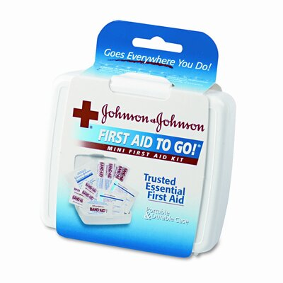 BAND-AID Johnson and Johnson Red Cross Mini First Aid To Go Kit, 12 Pieces