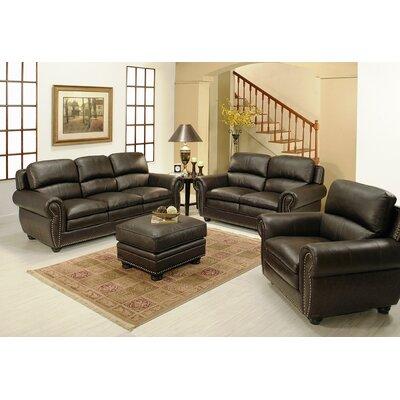 Ridgecrest 4 Piece Top Grain Leather Sofa, Loveseat, Armchair, and Ottoman by Abbyson Living