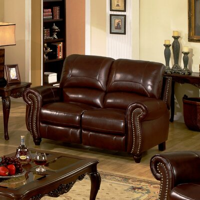 Abbyson living charlotte leather reclining loveseat for Meuble chez brick