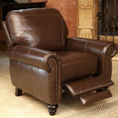 Elm Top Grain Leather Recliner by Abbyson Living