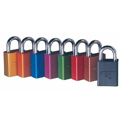 American Lock Solid Aluminum Padlocks - blue safety lock-out color coded secur