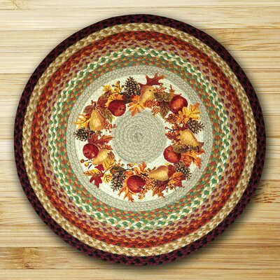 Autumn Wreath Round Multi Patch Area Rug by EarthRugs