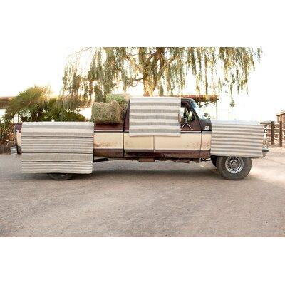 Dash and Albert Rugs Indoor/Outdoor Beckham Platinum Brown/White Striped Outdoor Area Rug