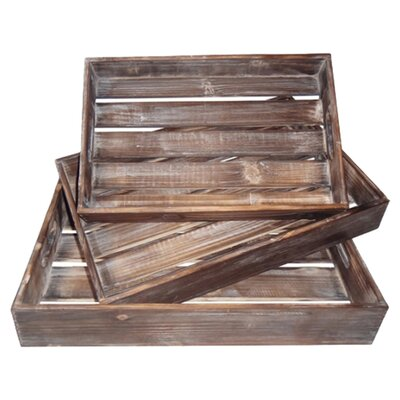 Cheungs 3 Piece Wood Slatted Tray Set